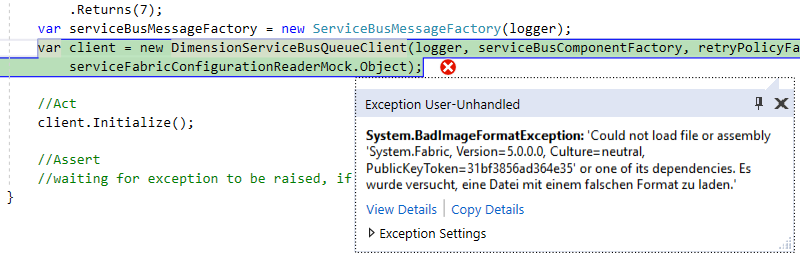 badimageformatexception-servicefabric-unit-tests